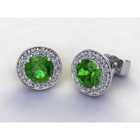 7.2 Ct Round Cut Green Tourmaline Diamond Stud Earring 14K White Gold Halo Gemstone Earring