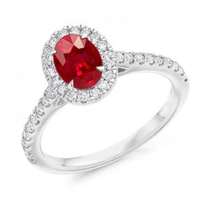7.35 Carats Oval Ruby With Round Diamonds Ring White Gold 14K Gemstone Ring