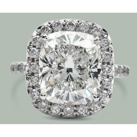 7.5 Ct Cushiondiamond Solitaire With Halo Engagement Ring White Gold Halo Ring