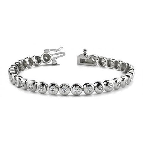 7.5 Ct Round Bezel Set Diamond Tennis Bracelet Solid White Gold 14K Tennis Bracelet