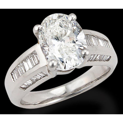 7.50 Ct. Oval Diamond Solitaire With Accents Ring Solitaire Ring with Accents