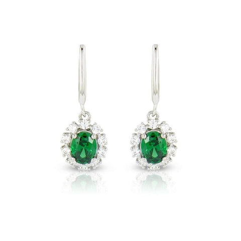 7.50 Ct Prong Set Emerald With Diamonds Dangle Earrings White Gold 14K Gemstone Earring