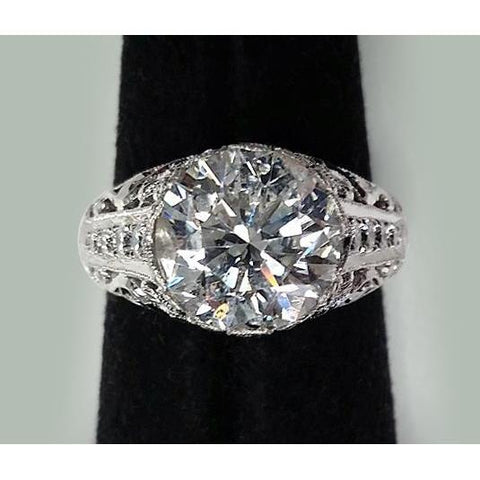 7.50 Ct. Round Diamonds Solitaire With Accents Wedding Ring Solitaire Ring with Accents