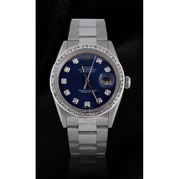 Rolex Rolex Datejust Men Watch Blue Diamond Dial Ss Oyster Bracelet