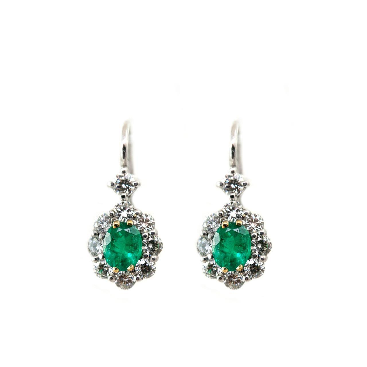 7.60 Carats Emerald With Diamonds Women Dangle Earrings 14K Gemstone Earring