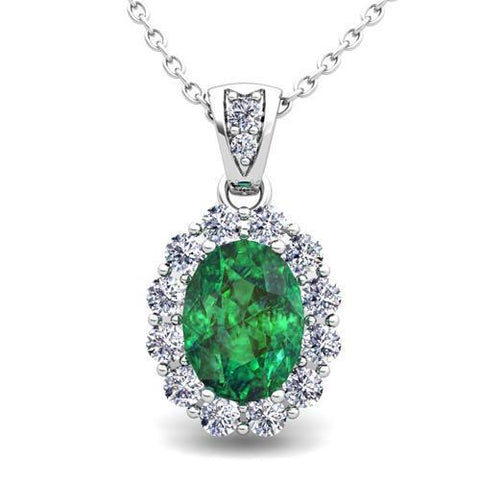 7.85 Carats Emerald With Diamonds Ladies Pendant Necklace White Gold 14K Pendant