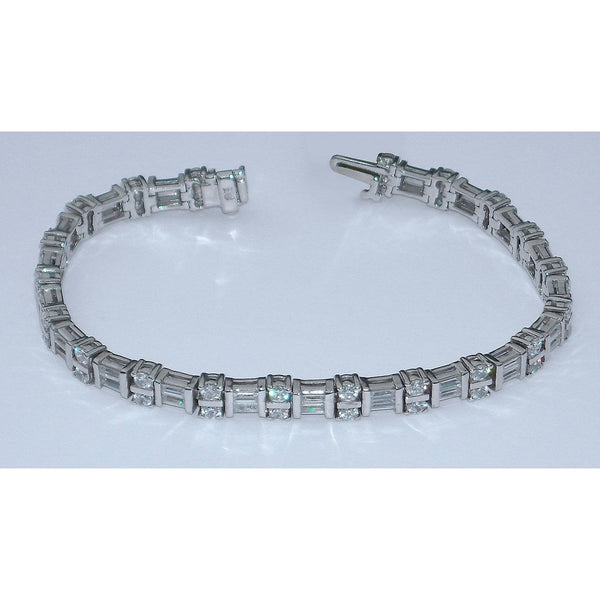 8 Carat Diamonds Tennis Bracelet Vs Baguettes And Round 14K White Gold Tennis Bracelet