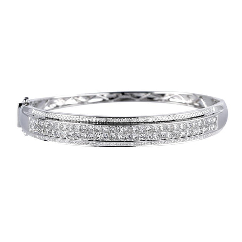 8 Carats Princess And Round Cut Diamonds Bangle Bracelet White Gold Bangle