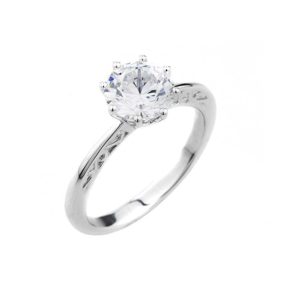 8 Prong Set Round Cut 2 Carat Solitaire Diamond Engagement Ring Solitaire Ring