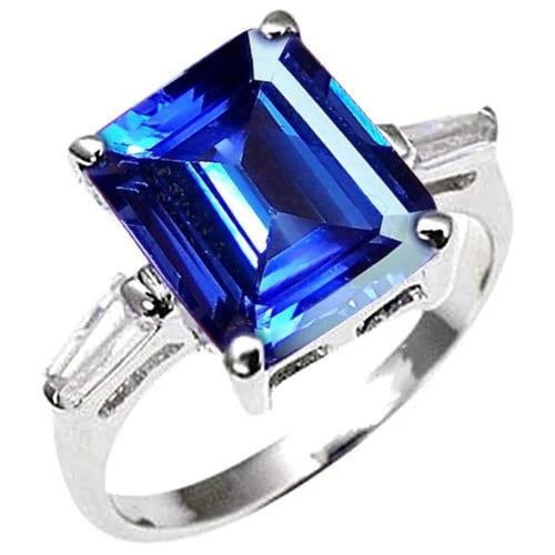 8.30 Carats Emerald Cut Tanzanite & Baguettes Engagement Ring