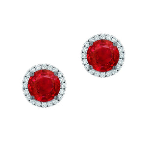 8.00 Carats Prong Set Round Ruby And Diamonds Pave Halo Studs Earrings White Gold 14K Gemstone Earring