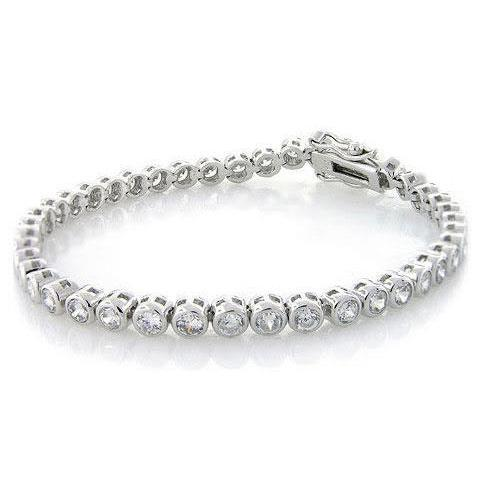 8.40 Carats Round Cut Diamonds Tennis Bracelet White Gold 14K Tennis Bracelet