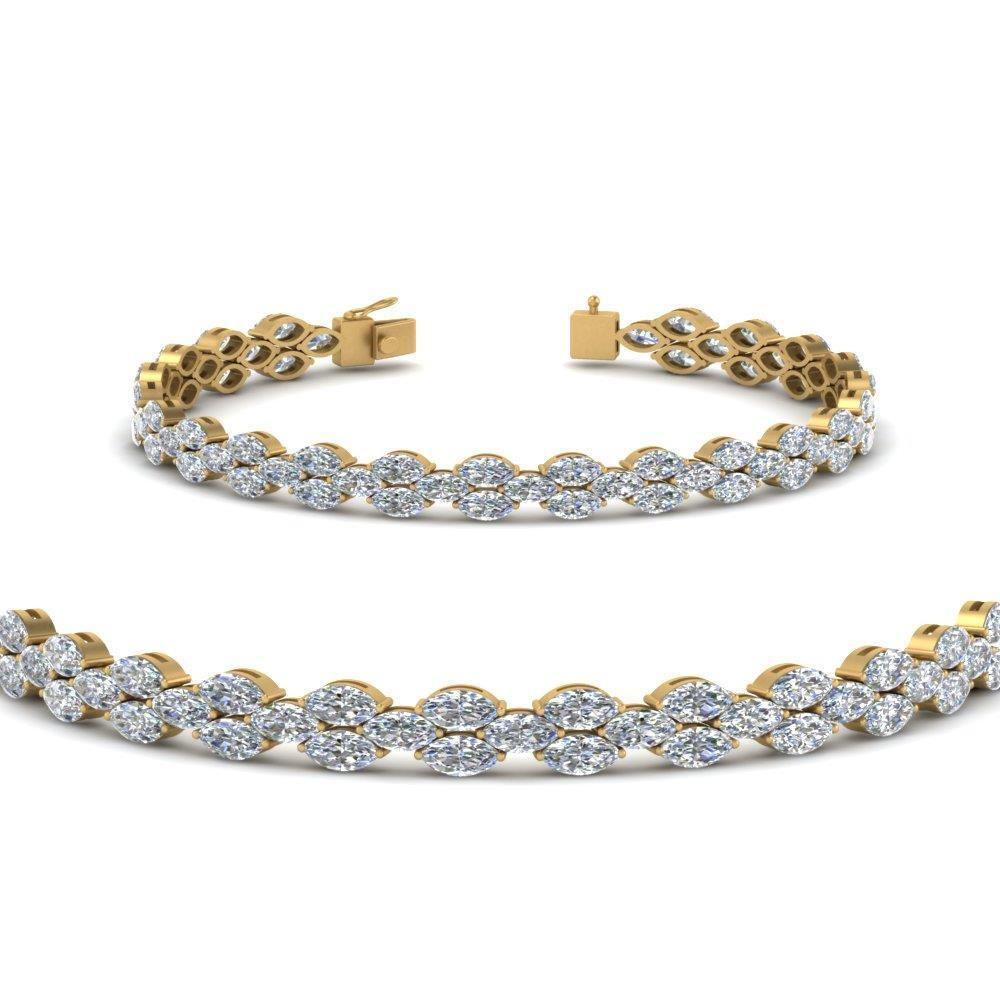 8.5 Ct Marquise Cut Diamond Tennis Bracelet Solid Yellow Gold 14K Tennis Bracelet