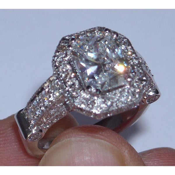 8.51 Carat Diamond Engagement Ring Band Set Radiant Cut Engagement Ring Set