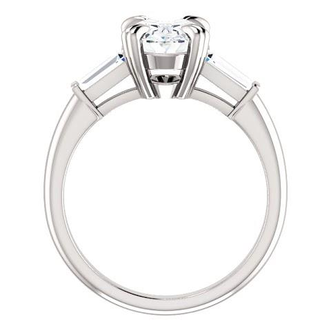 Three Stone Ring 2 Carats Oval Center Diamond 3 Stone Engagement Ring 14K White Gold