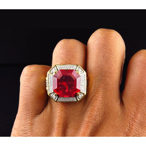 8.75 Ct Red Asscher Cut Ruby And Diamond Wedding Ring Gold Jewelry Gemstone Ring