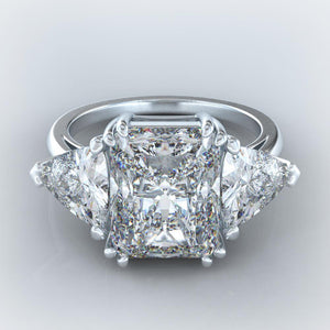 9 Carats 3 Stone Diamonds Engagement Ring White Gold 14K Jewelry New Three Stone Ring