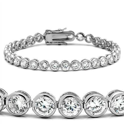 9 Carats Round Cut Diamonds Bezel Setting Bracelet White Gold Tennis Bracelet