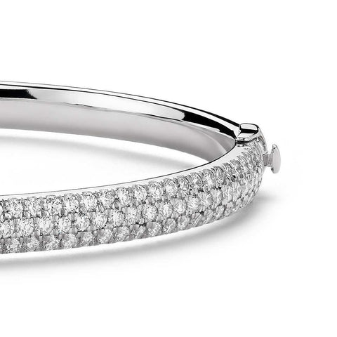 9 Ct Round Diamond Bangle Bracelet 14K White Gold Bangle