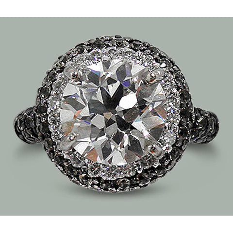 9 Cts Round White Black Diamonds Halo Old Miner Ring White Gold 14K Halo Ring