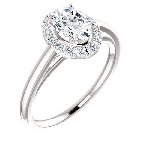 Halo Ring 2 Carats Oval Cut Diamond Engagement Ring 14K White Gold