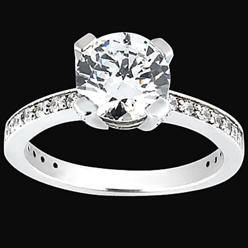 2.26 Carats Round Diamonds Engagement Ring Solitaire With Accents Solitaire Ring with Accents