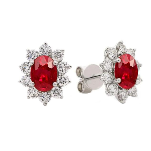 9.50 Carats Ruby And Diamonds Flower Style Studs Cluster Halo Earrings White Gold 14K Gemstone Earring