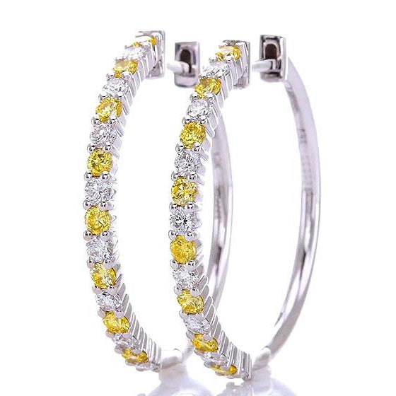 Gemstone Earring Diamond Hoop Earrings 4.80 Carats Yellow Sapphires Jewelry