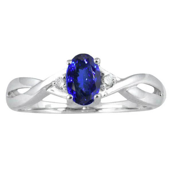 Antique Oval Tanzanite AAA And Round Diamonds 1.61 Carat Ring