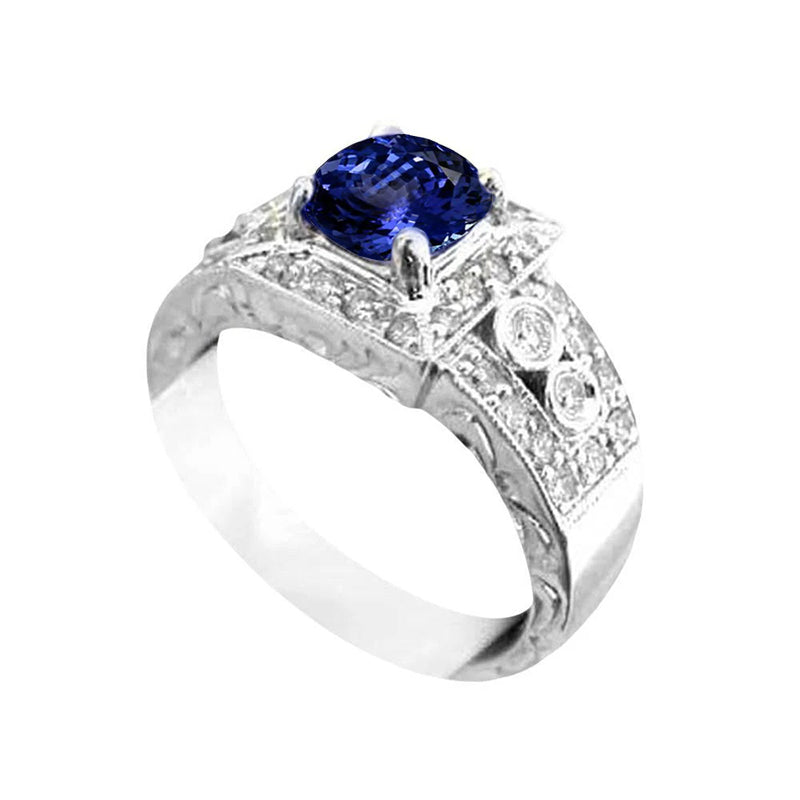 Antique Style Tanzanite And Diamonds Ring 2.79 Carats New
