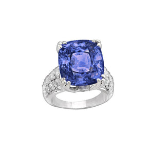 Cushion Tanzanite AAA And Round Diamonds 7.51 Carat Fancy Ring New