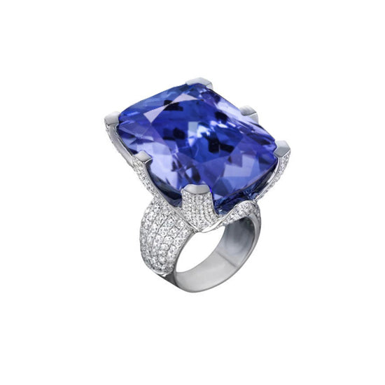 Cushion Tanzanite Aaa & Round Diamonds Solid Gold 8.51 Carat Ring New
