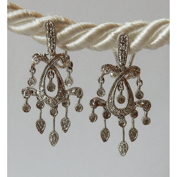 1.5 Carats Diamond Chandelier Earrings G/H SI White Gold