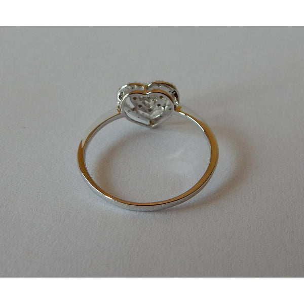 Heart Shape Double Row Diamonds Ring Halo White Gold 0.50 Carats Halo Ring
