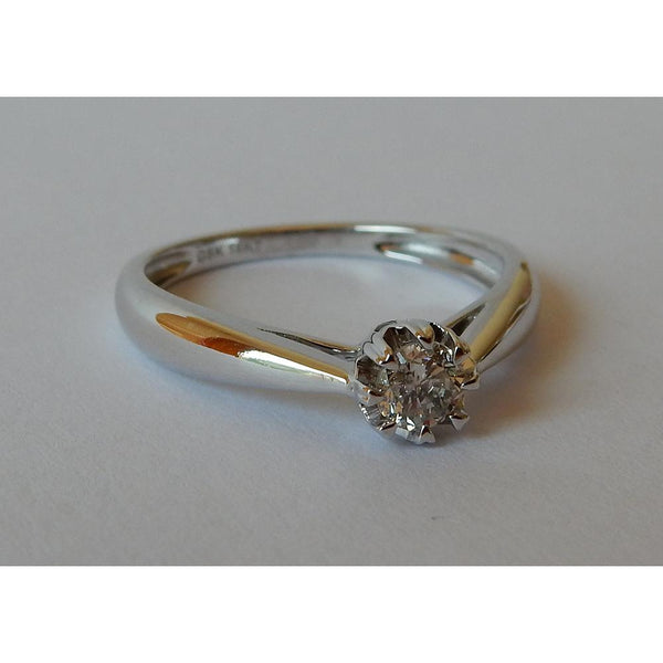 Solitaire Ring Solitaire Diamond Ring 0.25 Carats White Gold 14K