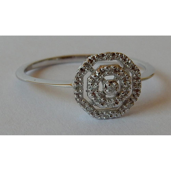 Halo Ring 0.50 Carats Diamond Ring Double Halo Style White Gold 14K