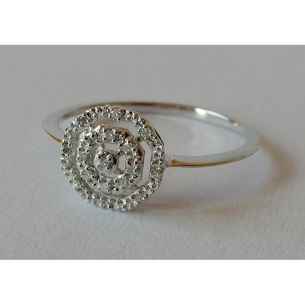 White Gold 0.50 Carats Diamond Ring Double Halo Style
