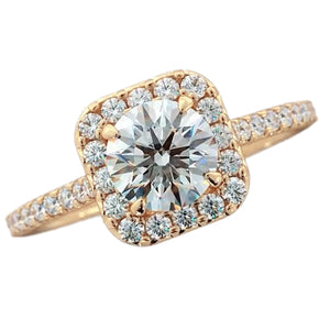 Diamond Engagement Ring Halo 2.25 Carats Yellow Gold Women Jewelry