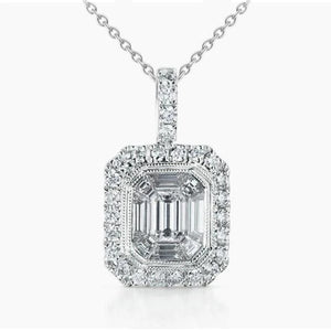 Diamond Pendant Necklace Asscher 2.60 Carats Bezel Set White Gold 14K