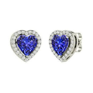 Heart Cut Tanzanite With Round Diamonds 3.00 Ct. Studs Earrings 14K