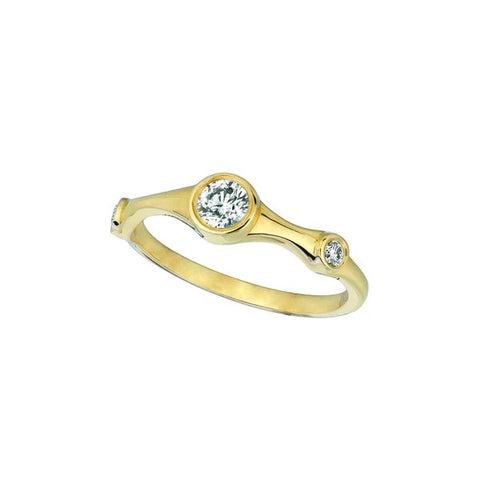 Diamond Fancy Ring 0.31 Carats 14K Yellow Gold Half Eternity Band