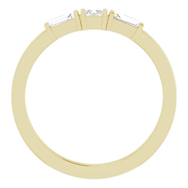 Three Stone Ring 3 Stone Ring 1.10 Carats Princess & Baguette Diamonds Yellow Gold 14K