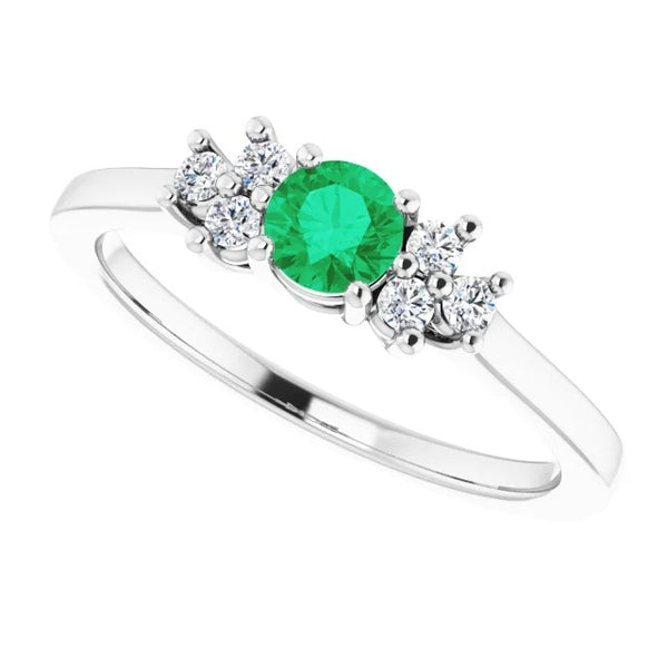 Gemstone Ring 1.50 Carats Ring Solitaire Round Green Emerald Stone