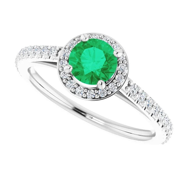 Gemstone Ring 2.50 Carats Ring Round Halo Green Emerald White Gold 14K