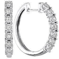 Ladies Diamond Hoop Earring Pair Fine White Gold 3 Carats Jewelry