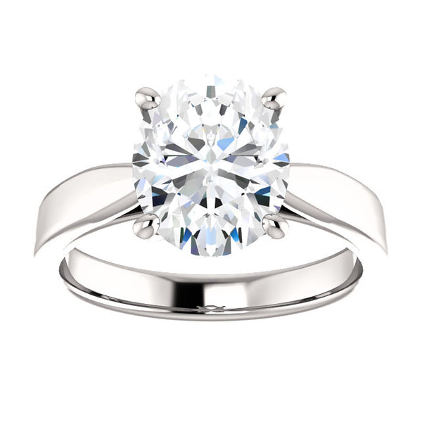 Solitaire Ring Solitaire Diamond Ring Oval 3.50 Carats Split Shank Cathedral Setting White Gold