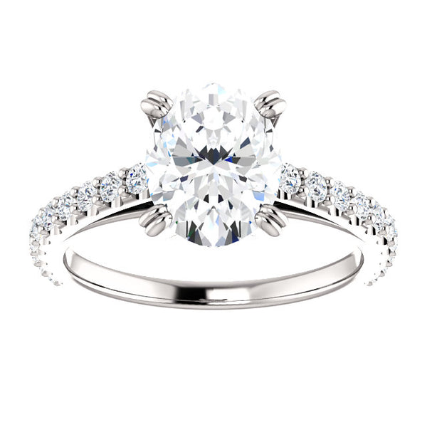 Solitaire Ring with Accents Diamond Engagement Ring 2.60 Carats Claw Prong Setting Accented White Gold