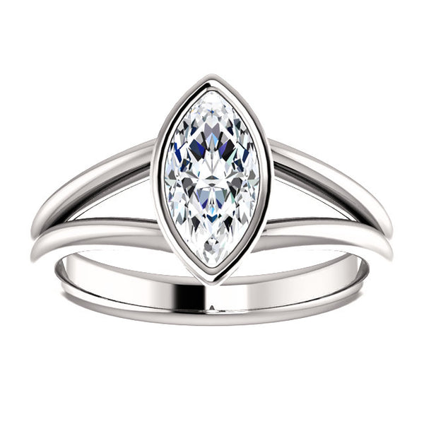 Solitaire Ring Solitaire Marquise Diamond Ring 3 Carats Bezel Setting Split Shank Women Jewelry New