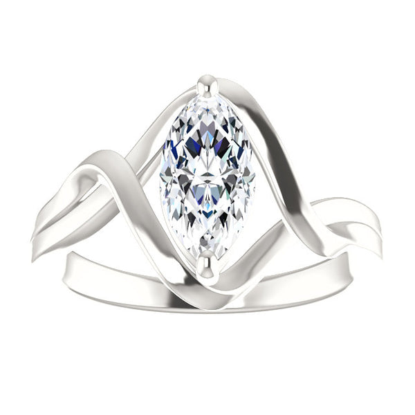 Solitaire Ring Solitaire Diamond Ring 2.50 Carats Twisted Split Shank 14K White Gold