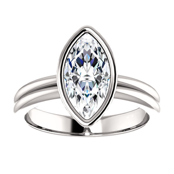 Solitaire Ring Solitaire Marquise Diamond Ring 3 Carats Double Shank Bezel Setting White Gold 14K